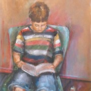 Vincent liest Harry Potter im Atelier |Öl auf Karton |2013